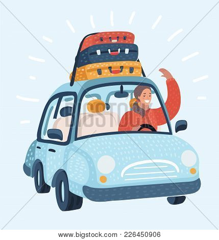Vector Cartoon Illustration Of A Woman Driving Car With Luggage Trunks Suitcase On Top. Travel Or Re