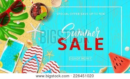 Summer Sale Promo Web Banner. Top View On Red Sun Glasses, Seashells, Cocktail, Smartphone, Flip Flo