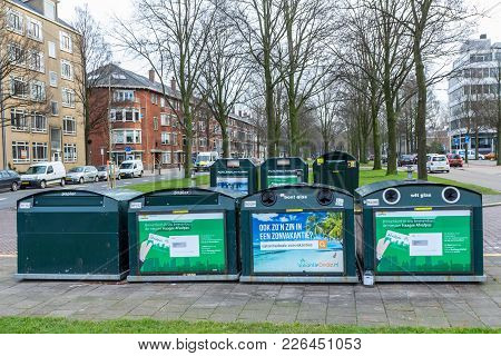 The Hague, The Netherlands - 25 January 2018: Suburban Recycling Collection Point For Bottles, Paper