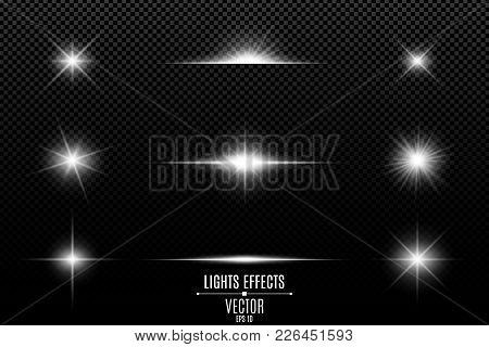 Collection Of Flashes, Lights And Sparks. Abstract White Lights Isolated On A Transparent Background