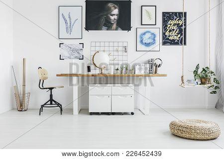 Pouf In White Workspace Interior