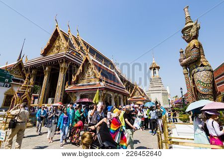 Wat Phra Kaew, Thailand  - February 1, 2016:  Temple Of The Emerald Buddha (officially Known As Wat