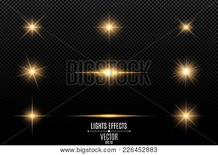 Collection Of Flashes, Lights And Sparks. Abstract Golden Lights Isolated On A Transparent Backgroun