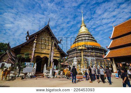 Lampang, Thailand:- December 3,  2016: Wat Pra That Lampang Luang. Lanna Style Buddhist Temple In La