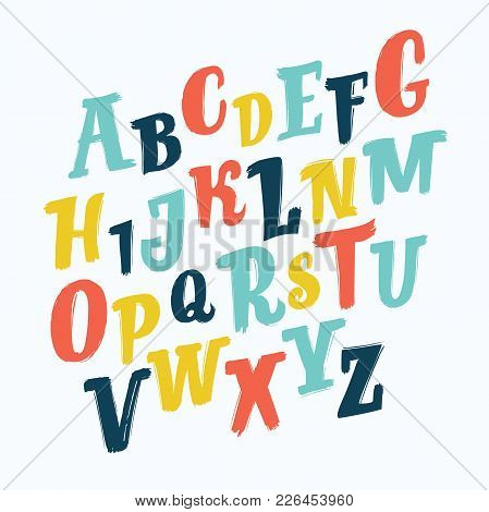 Vector Cartoon Letters Set Of Colorful Stylized Font And Brush Alphabet. Hand Drawn Slanted Abc