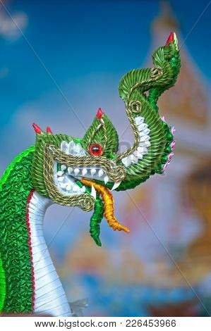 Bangkok,thailand -january 28, 2017 : The Art Of Handicraft Serpent Or Naga Made With Fabric And Rope