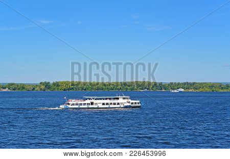 Samara, Russia - August 10, 2017: Tourist Motor Ship Moskva-110 Carries Tourists On The Volga River
