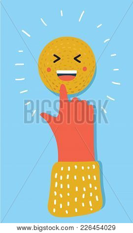 Vector Cartoon Illustration Of Emoticon. Smiling Laugh Face Icon. Human Hand Touch Or Push It. Drawn