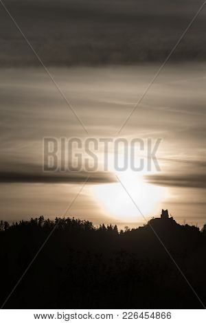 Old Castle Ruins Of Grad Smlednik Near Vodice Silhouetted  Against A Majestic Morning Sky With A Ris