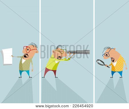 Vector Illustration Of Three Men With Objects