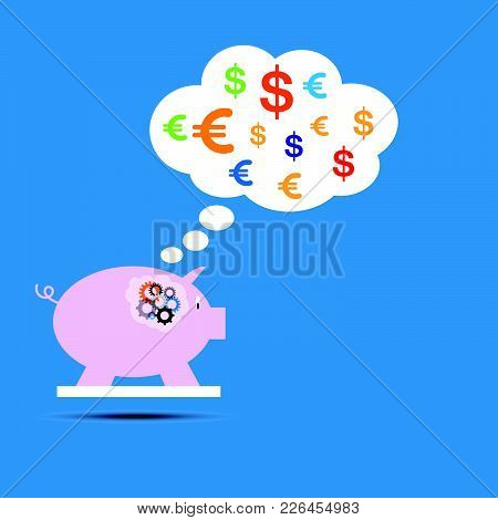 Vector Of Stickers Of Speech Bubbles With Piggy Bank. Speech Bubbles And Piggy Bank.