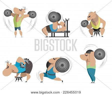Vector Illustration Of Six Bodybuilders On White Background
