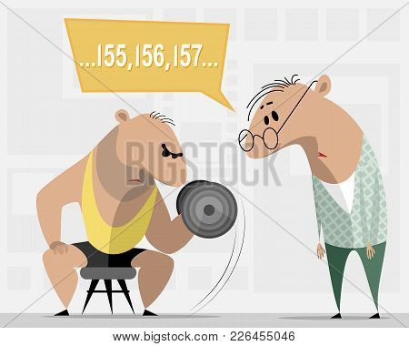 Vector Illustration Of A Bodybuilder And A Weak Man