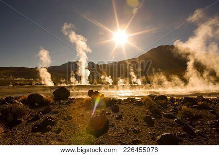 Sunrise Behind Fumaroles At An Altitude Of 4300m, El Tatio Geysers, Atacama Desert, Antofagasta Regi