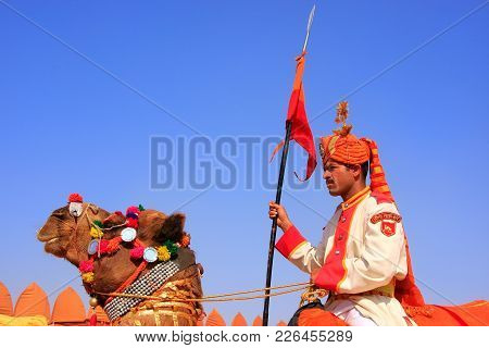 Jaisalmer, India - February 16: Unidentified Man Takes Part In Desert Festival On February 16, 2011
