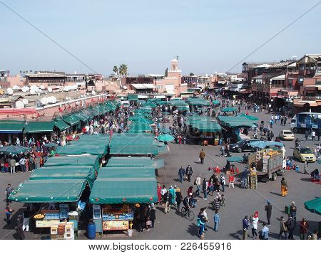 Marrakech, Morocco Africa On February 2017: Djemaa El Fna Main City Square And Market Place In Medin