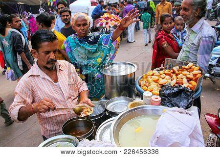 Agra, India - November 10: Unidentified Man Sells Food At Kinari Bazaar On November 10, 2014 In Agra