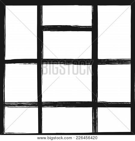 Template For Photo Collage. Square Background With Rectangular Frames. Grunge, Sketch, Watercolor. V