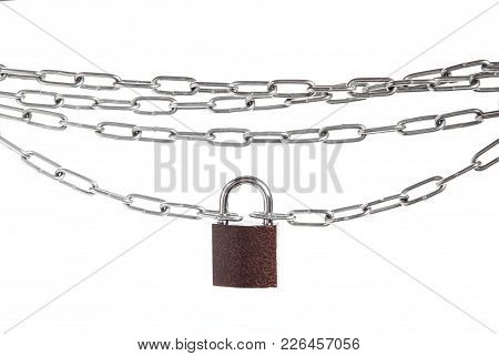 Closed Lock Hanging On Chain Isolated On White Background