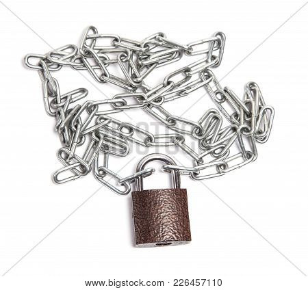 Closed Lock With Chain Lies Isolated On White Background
