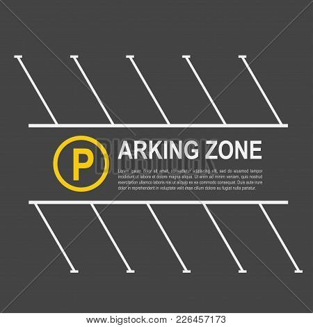 Parking Zone Mockup. Space For An Automobile To Be Parked, Area To Leave A Car In Park Or By The Sid