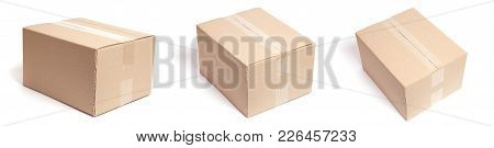 Set Of Carton Box Parcel Isolated On White Background