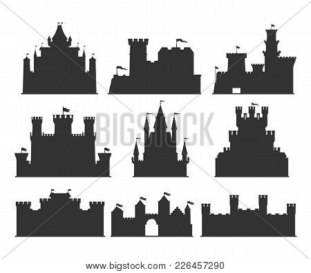 Castles Silhouettes Set. Building Of The Medieval Period, With Thick Walls, Battlements, Towers. Vec