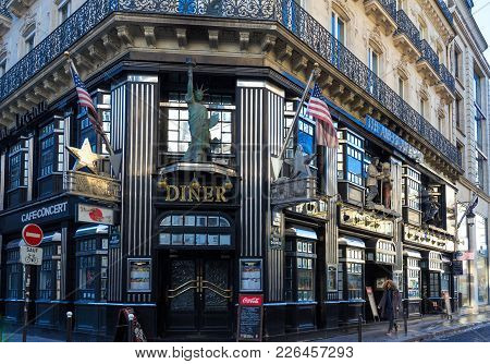 Paris, France-february 10, 2018 : The Restaurant American Dream Located 21 Rue Daunou In 2th Arrondi