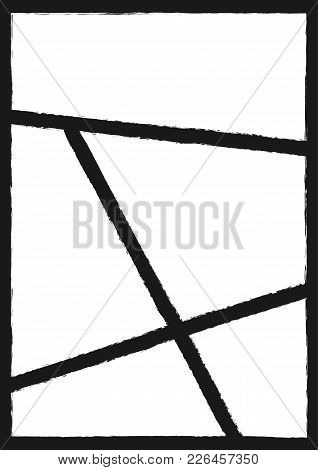 Grunge Photo Collage. Rectangular Vertical Background With Frames. Grunge, Sketch, Paint. Vector Ill