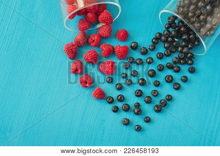 Fresh Sweet Blueberry, Raspberry . Heart Shape Of Fresh Raspberries And Blueberries. Dessert Healthy