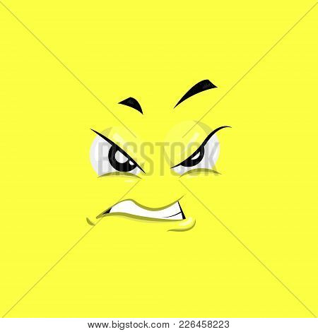 Vector Illustration Of The Annoyed Face On Yellow Background.