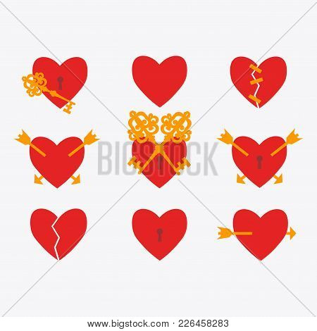 Set Of Vector Hearts. Broken Heart. The Arrow Is Pierced By An Heart. The Glued Heart. A Lock On The