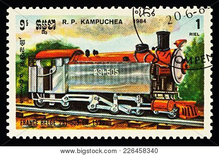 Moscow, Russia - February 12, 2018: A Stamp Printed In Cambodia, Shows Steam Locomotive 231-505 (fra