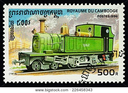Moscow, Russia - February 12, 2018: A Stamp Printed In Cambodia, Shows Steam Tank Locomotive (1914),