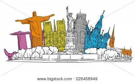 Famous Travel Banner Sketch. Tourism Sketch Concept With Landmarks. Travelling Vector Illustration.