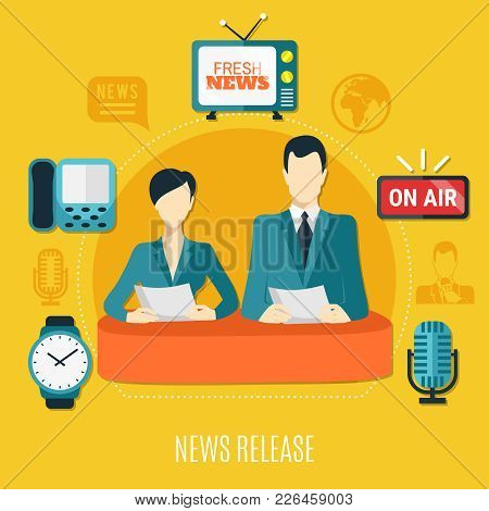 News Release Design Composition With Male And Female Television Announcers Reading News On Air Flat