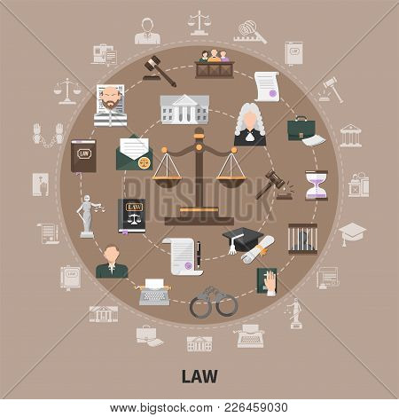 Law Icons Set Of Flat Isolated Juristic Images With Scales Faceless Human Characters And Silhouette