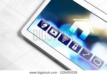Smart Home Application In Tablet To Control House Appliances. Internet Of Things (iot) And Remote Co