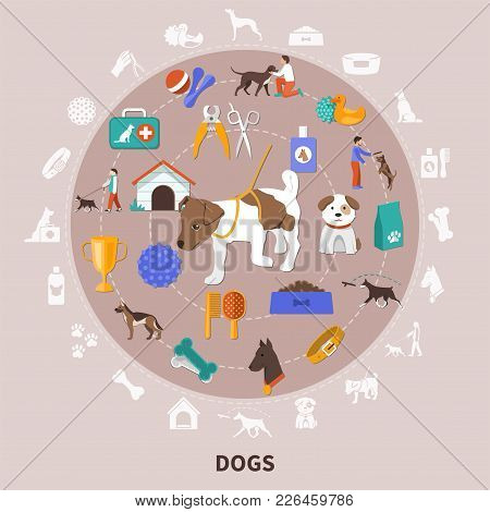 Dogs Round Composition With Flat Isolated Images For Pet Owners With Food Toys Grooming And Training