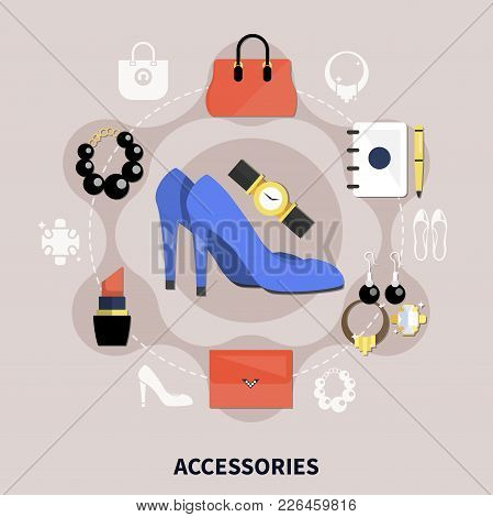 Clothes Flat Composition With Colored Accessories Handbags Watches Shoes Pumps And Other Vector Illu