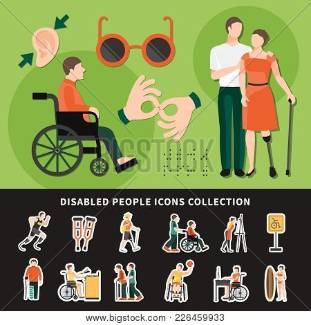 Disabled Person Flat And Colored Composition With Disabled People Icons Collection Description Vecto