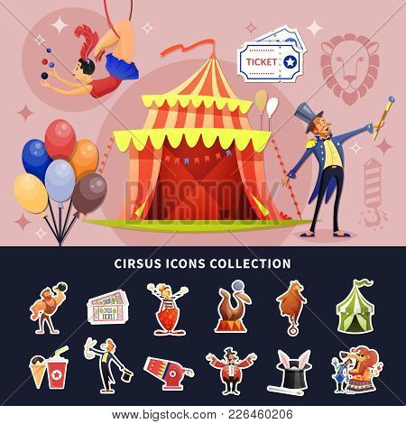 Circus Cartoon Colored Composition With Isolated Show Icon Set Combined In Composition Vector Illust