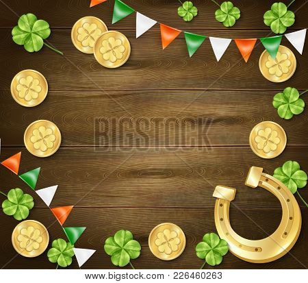 Saint Patricks Day Frame On Wooden Background With Golden Horseshoe And Coins, Clover, Colorful Penn