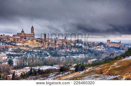 Segovia In Spain Snowed In Winter.