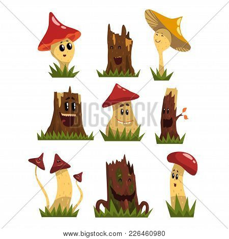 Funny Mushrooms Characters Set, Cute Humanized Forest Mushrooms And Stamps With Smiling Faces Vector
