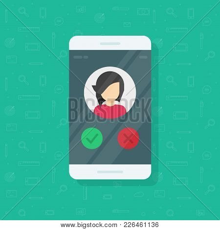 Smartphone Voting Vector Illustration, Flat Cartoon Mobile Phone With Girl Photo Or Avatar And Vote