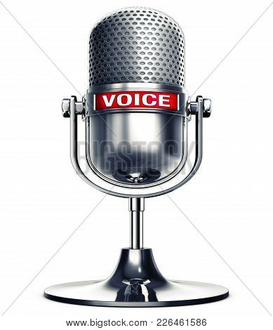 3d Rendering Of An Microphone With The Word Voice