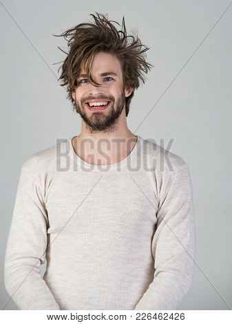 Sleepy Man With Beard On Grey Background. Morning Wake Up, Everyday Life. Insomnia, Energy, Single W