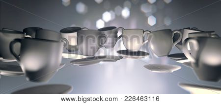 3d Lots Of Coffee Cups Floating In Zero Gravity. Soft  Slightly Pink Abstract Background With Light