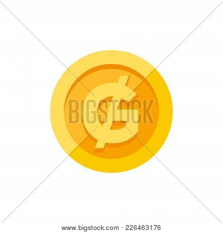 Paraguayan Guarani Currency Symbol On Gold Coin, Money Sign Flat Style Vector Illustration Isolated